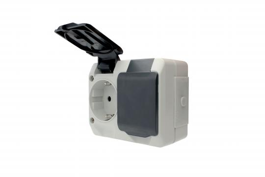 Dual power socket IP44, clamp connection